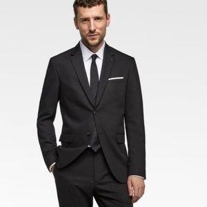 Zara Man Textured Weave Black Lined Blazer 38